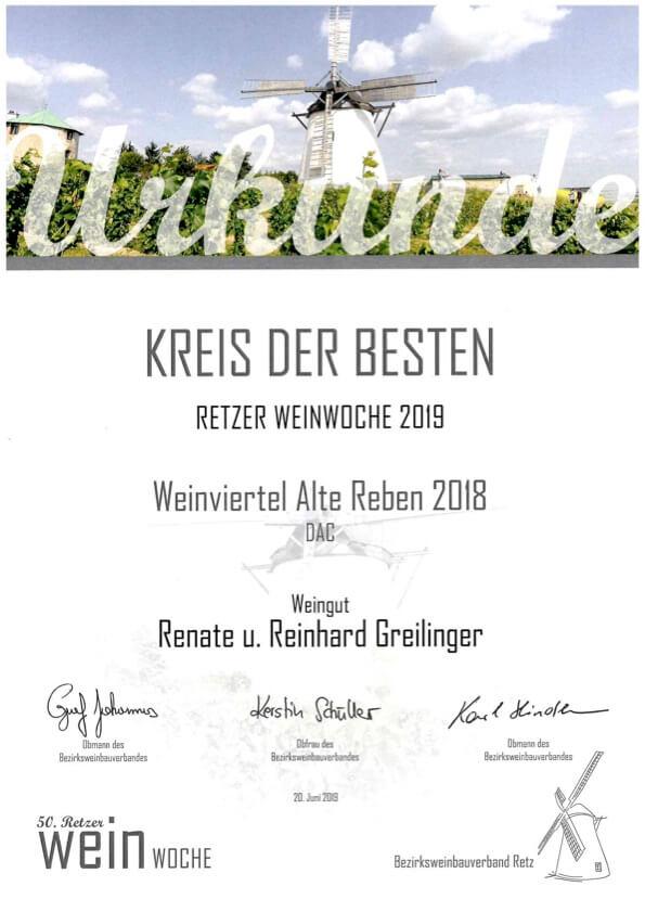Retzer Weinwoche 2019 Urkunde Kreis der Besten